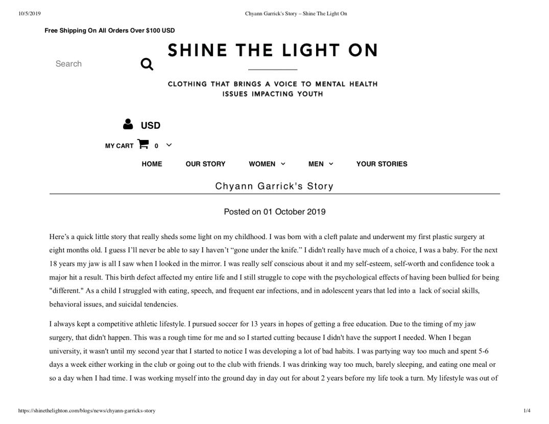Chyann Garrick's Story – Shine The Light On